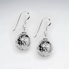 Delicate Dangle Drop Earrings With Suspended Groove Dimpled Globes