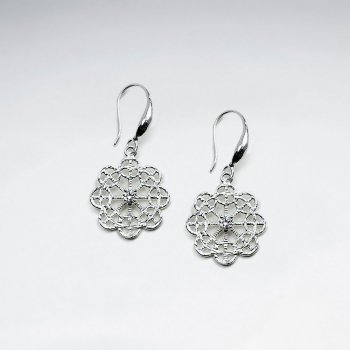Delicate Filigree Snowflake Drop Earring With CZ