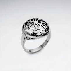 Delicate Flower Oxidized Filigree Silver Ring