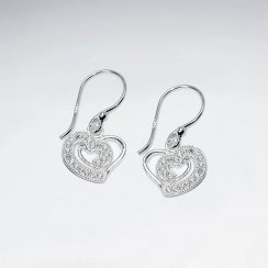 Delicate Heart Cutout Cubic Zirconia Studded Drop Hook Earrings