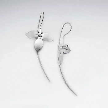 Delicate Open Blossom 3D  Silver Threader Drop Earrings