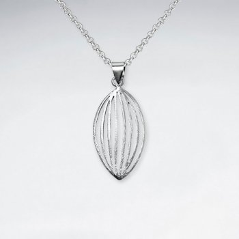 Delicate Oval Polished Silver Pendant