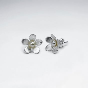 Delicate Pearl and Matte Silver Flower Stud Earrings