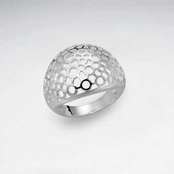 Delicate Perforated Filigree Silver Ring