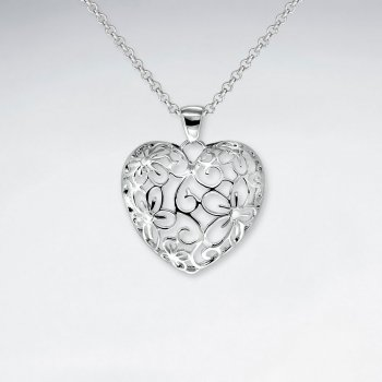 Delicate Polished Silver Filigree Heart Shape Pendant