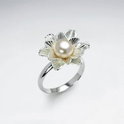 Delicate Polished Silver Pearl Adorned Ring
