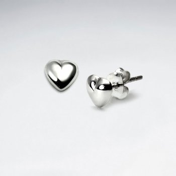 Delicate Polished Silver Unique Heart Shape Stud Earrings