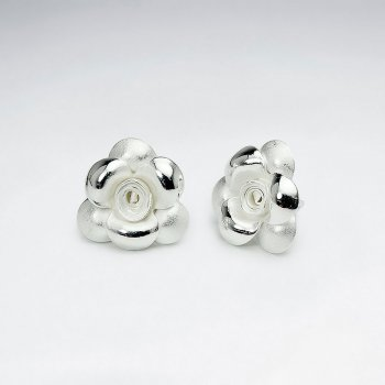 Delicate Silver Floral Buds Stud Earrings