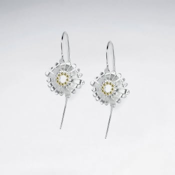 Delicate Silver Flower Blossom Style Drop Hook Earrings