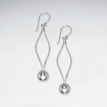Delicate Silver Open Diamond Shape Earrings With Suspended Polished Circle Charm