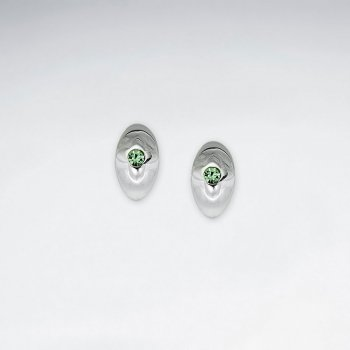 Delicate Silver Stud Earrings With Green Cubic Zirconia Accent