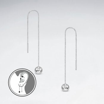 Delicate Silver Threader Chain Ball Earrings