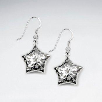 Delightful Detailed Dangle Drop Star Earrings With Shepherds Hook