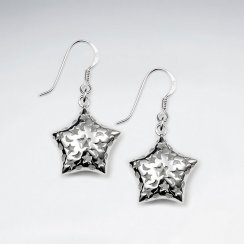 Delightful Detailed Dangle Drop Star Earrings With Shepherds Hook