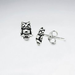 Delightful Oxidized Silver Perched Owl Stud Earrings