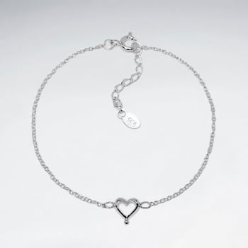 Designs for Her Sterling Silver Open Heart Bracelet