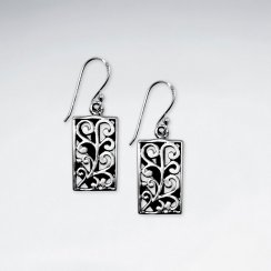 Detailed Filigree Rectangle Earrings in Oxidized Silver