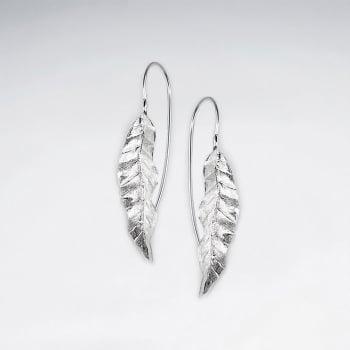Detailed Leaf Foliage Drop Threader Earrings