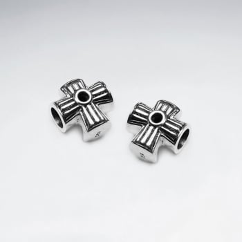 Detailed Oxidized Silver Cross Beads Pack Of 5 Pieces