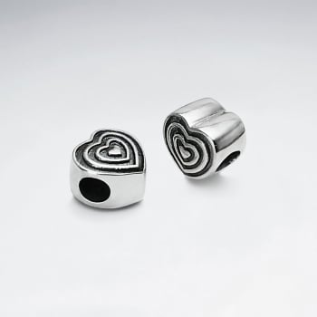 Detailed Oxidized Silver Heart Bead Pack Of 2 Pieces