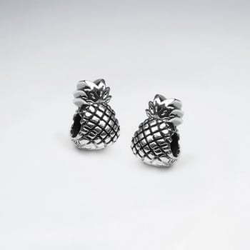 Detailed Oxidized Silver Pineapple Bead Pack Of 5 Pieces