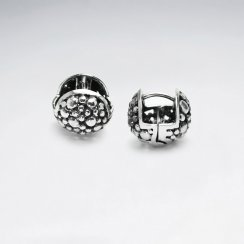 Detailed Textured Oxidized Silver Dimensional Ball Earrings