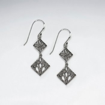 Diamond Shape Oxidized Silver Filigree Tree Double Drop Earrings