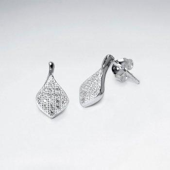 Diamond Shaped Sterling Silver Cubic Zirconia Drop Stud Earrings