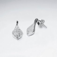 Diamond Shaped Sterling Silver Cubic Zirconia Drop Stud Earrings