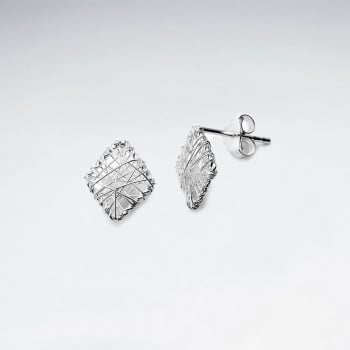 Diamond Shaped Sterling Silver Wirework Stud Earrings