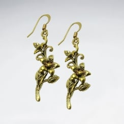 Dimensional Branching Blooms Dangle Hook Earrings in Brass
