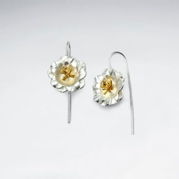 Dimensional Duel Tone Floral Threader Earrings