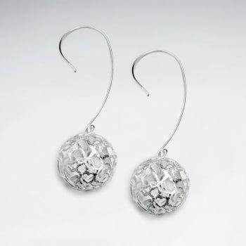 Dimensional Filigree Sterling Silver Ball Drop Earrings
