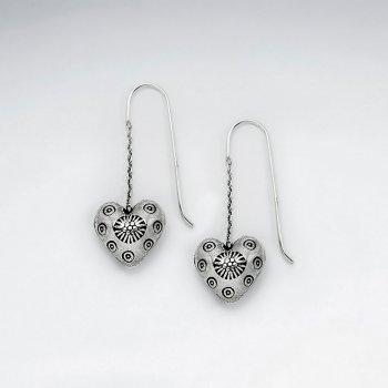 Dimensional Flower Blossom Dangle Hook Earrings in Oxidized Silver