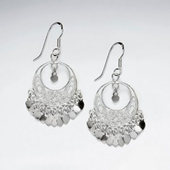 Disc Adorned Chandelier Dangle Drop Earrings