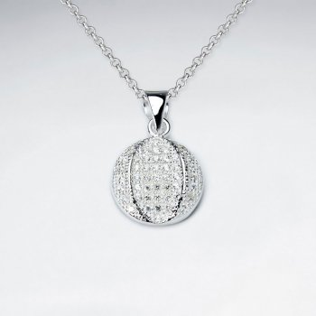 Disco Ball Inspired Cubic Zirconia Silver Pendant