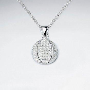 Disco Ball Inspired Cubic Zirconia Silver Pendant
