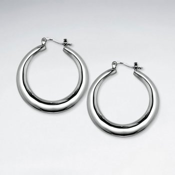 Divine Swooping Silver Hoop Earrings