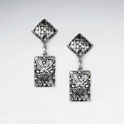 Divinely Enchanting Oxidized Silver Ornate Filigree Geometric Design Tiered Dangle Drop Earrings