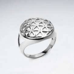 Dome Shape Flower of Life Silver Ring
