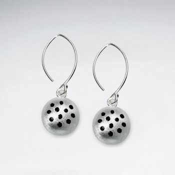 Domed Circle Spotted Sterling Silver Enamal Dangle Earrings