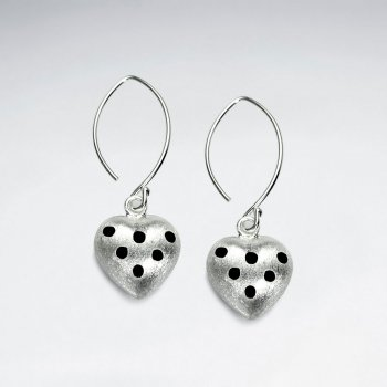 Domed Heart Silhouette Sterling Silver Enamal Dangle Earrings