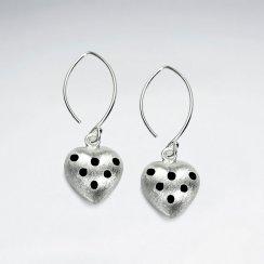 Domed Heart Silhouette Sterling Silver Enamal Dangle Earrings