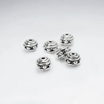 Dotted Silver Oxidized Spacer Beads Pack Of 20 Pieces