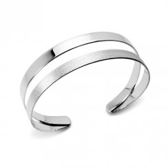 Double Band Tapered Open Cuff Bangle