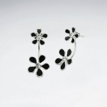 Double Blossom Sterling Silver and Enamel Flower Earrings
