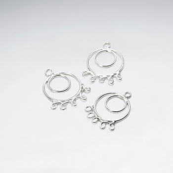 Double Circles Decorated Openwork Sterling Silver Earring Accessory Pack Of 10 Pieces