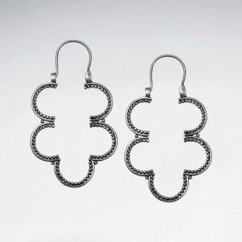 Double Clover Drop Earrings in Sterling Silver
