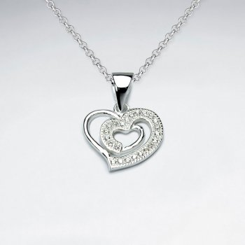 Double Cubic Zirconia Heart-in-Heart Sterling Silver Pendant