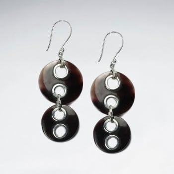 Double Drop Button Style Betting Bang Shell Cascade Dangle Earrings